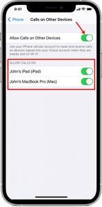 activer les appels WiFi pour d'autres appareils