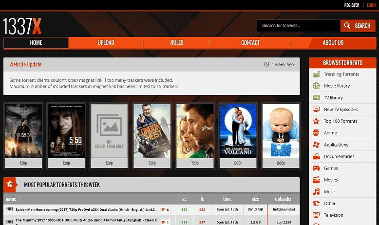 1337X - meilleur site torrent