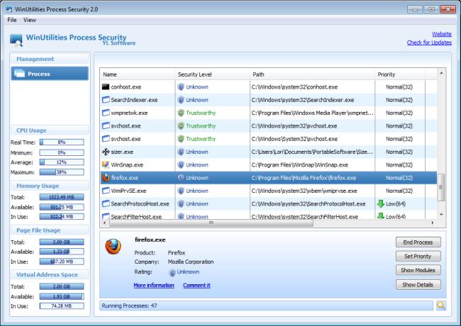 9. WinUtilities Process Security