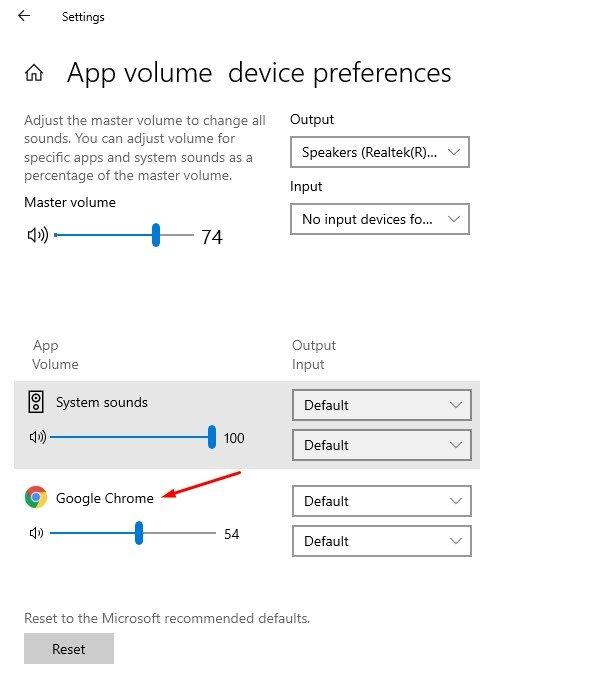 régler le niveau de volume de chaque application.