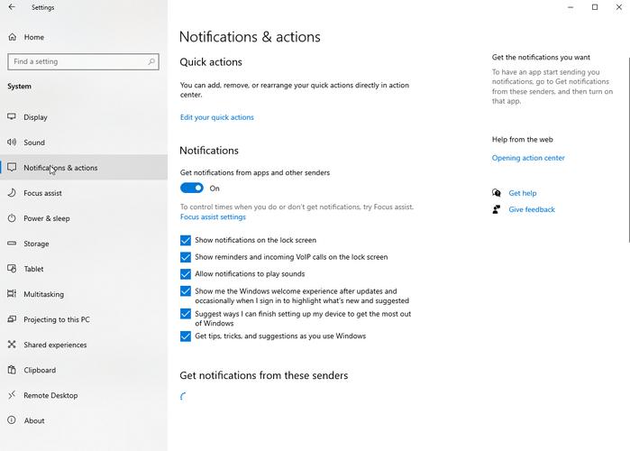 Notifications et actions