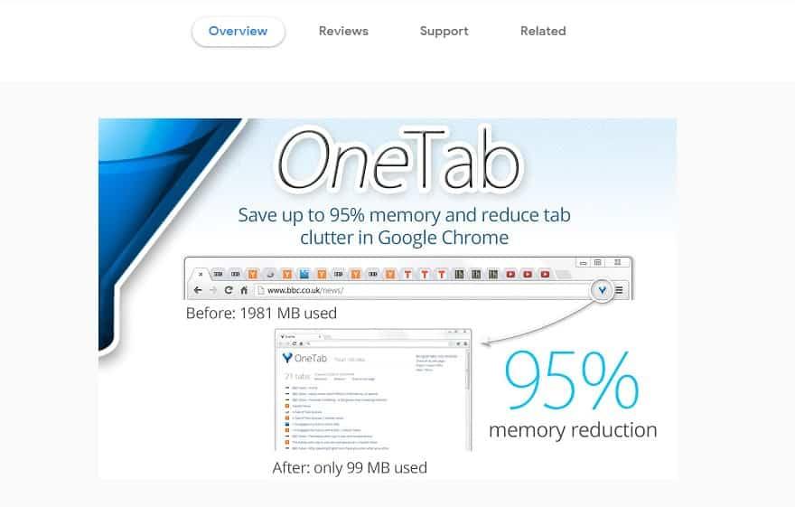 OneTab - meilleure extension Chrome
