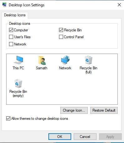Paramètres de l'icône du bureau