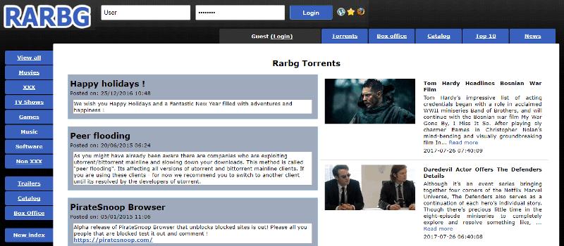 RARBG - meilleur site torrent