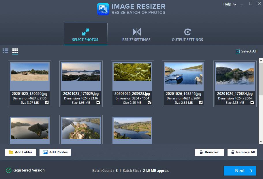 Redimensionneur d'images multiples.