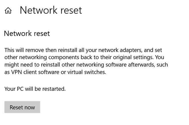 Réinitialisation du réseau