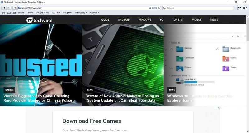 Safari sur un ordinateur Windows 10