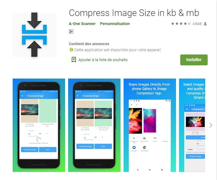 Compresser la taille de l'image en Ko et Mo