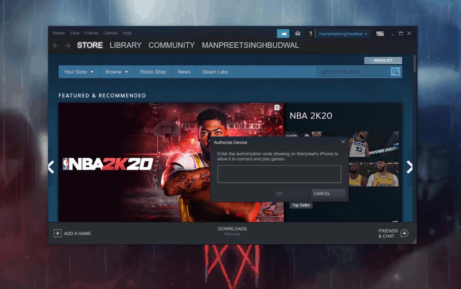 l'application Steam