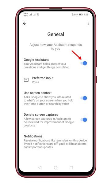 utilisez le bouton bascule derrière l'Assistant Google