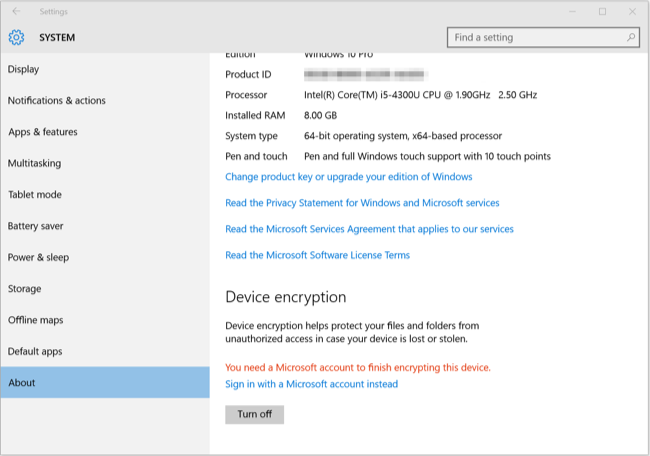 5. Chiffrement de périphérique Windows 10