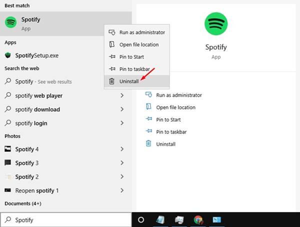 5. Réinstaller l'application Spotify