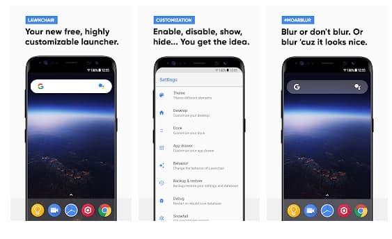 Lawnchair - meilleurs launchers Android