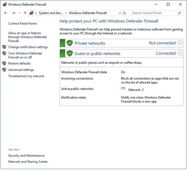 Activer le pare-feu Windows Defender