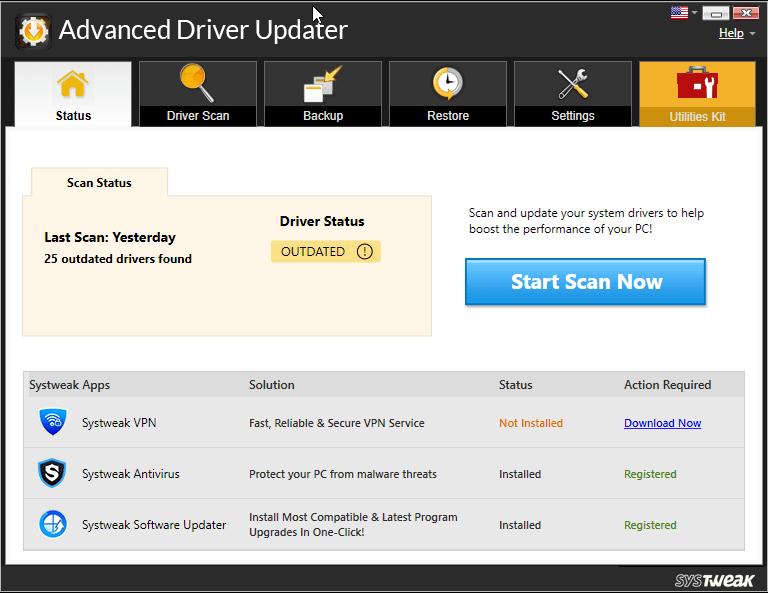 Advanced Driver Updater.