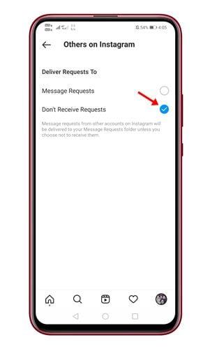 désactiver les demandes de messages sur Instagram