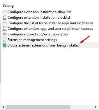 Bloque l'installation des extensions externes.