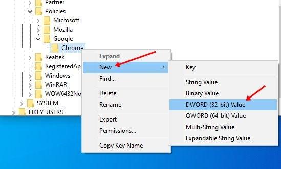 Cliquez avec le bouton droit sur la clé Chrome
