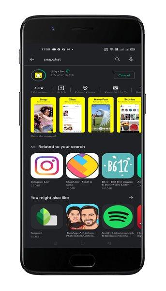 Mettez à jour l'application Snapchat