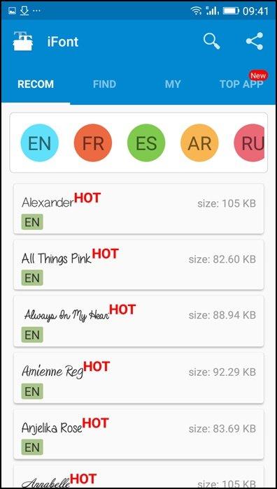 Ouvrez l'application iFont