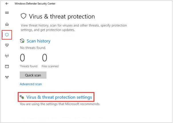 Paramètres de protection contre les virus et les menaces