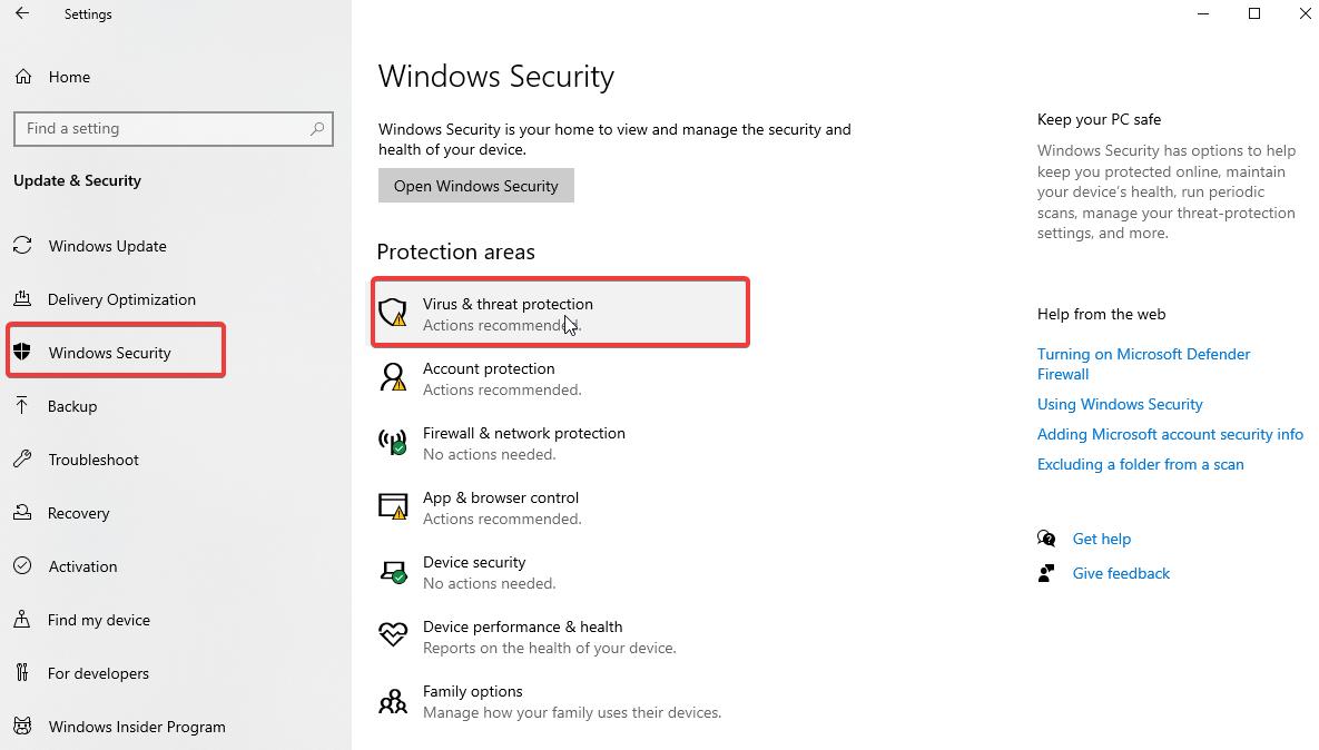Sécurité Windows