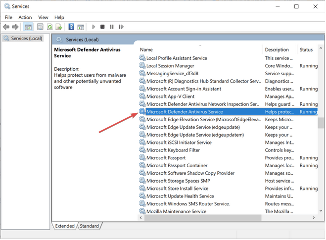 Vérifiez la configuration de démarrage du service Windows Defender