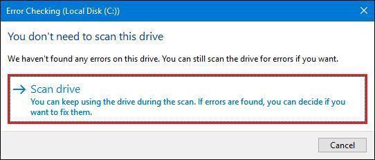 Windows de vérifier les erreurs