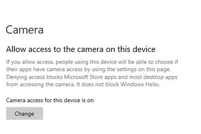 activez la bascule pour l'option Autoriser l'accès à la caméra sur cet appareil.