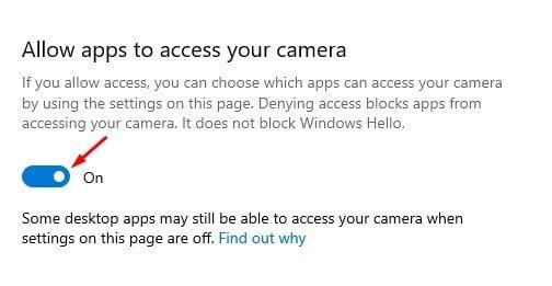 activez l'optionAutoriser les applications à accéder à votre caméra.