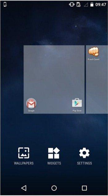 appuyez longuement sur l'écran d'accueil de votre appareil Android.