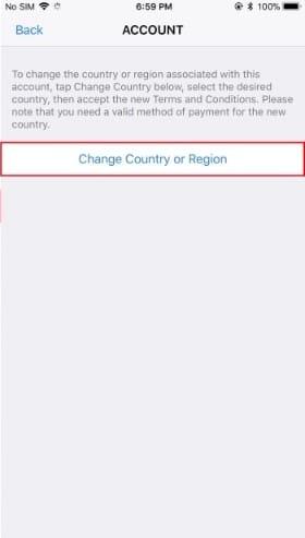 appuyez sur l'option Changer de pays ou de région.
