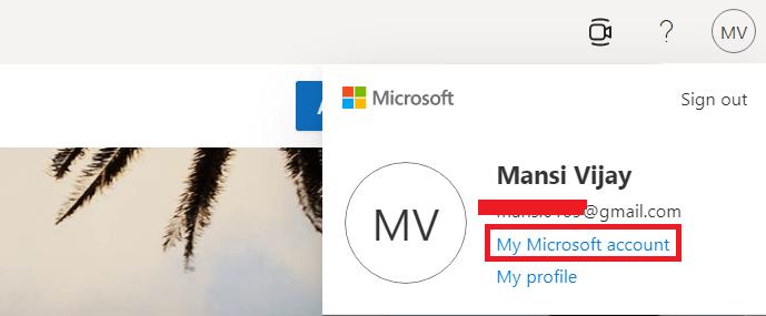 cliquer sur Mon compte Microsoft