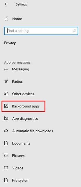 cliquez sur l'option Applications d'arrière-plan.