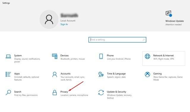 cliquez sur l'option Confidentialité.