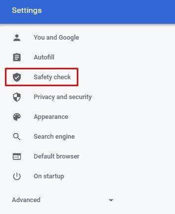 cliquez sur l'optionContrôle de sécurité.