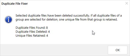 détectés et de fichiers uniques conservés.