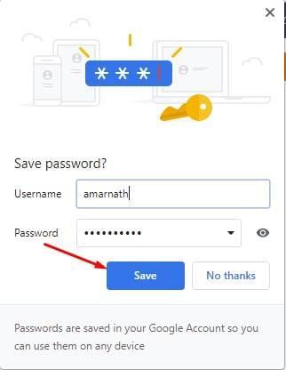 enregistrera automatiquement le mot de passe dans son gestionnaire de mots de passe.