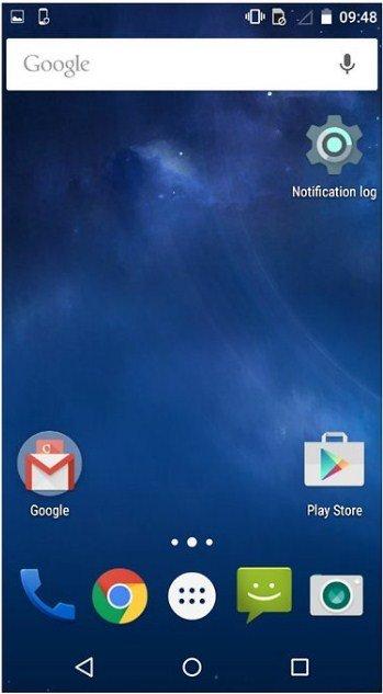 le journal des notifications y sera défini sur votre écran d'accueil.