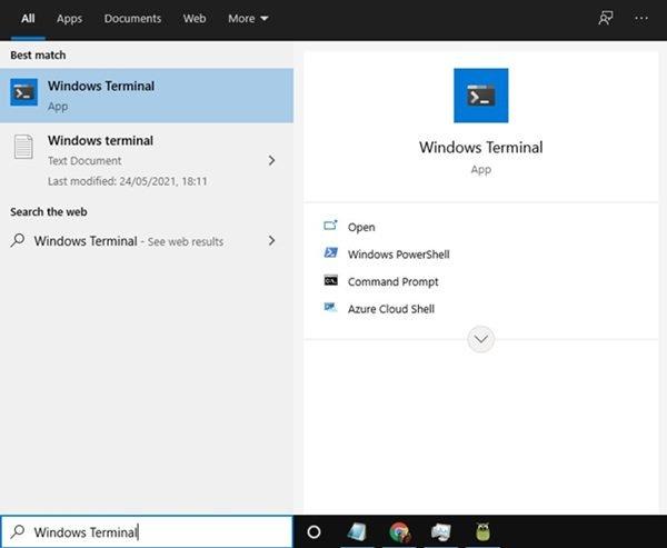 ouvrez l'application Windows Terminal.