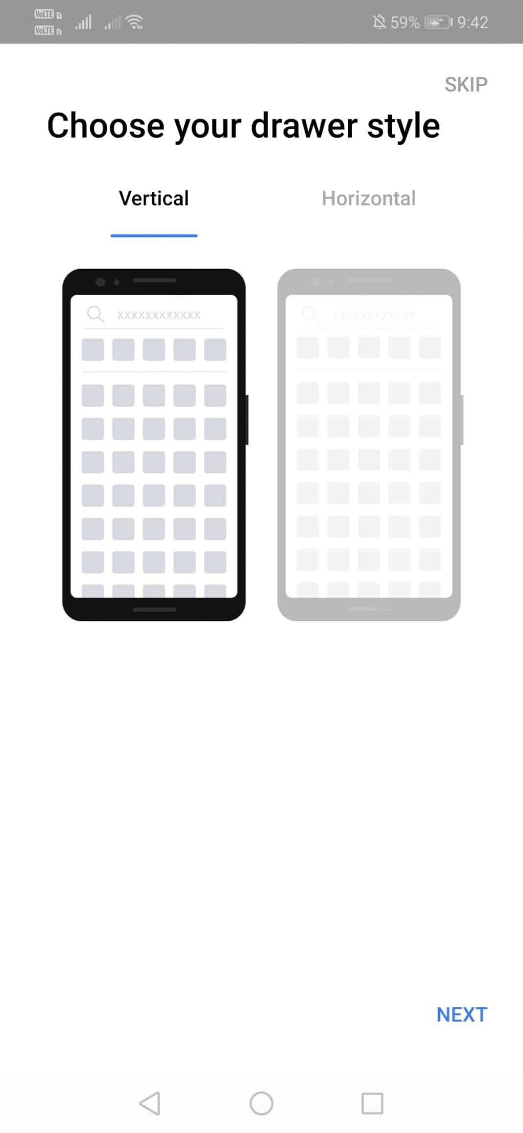 ouvrez l'application de lancement et choisissez le style de tiroir.