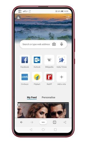 ouvrez le navigateur sur votre Android.