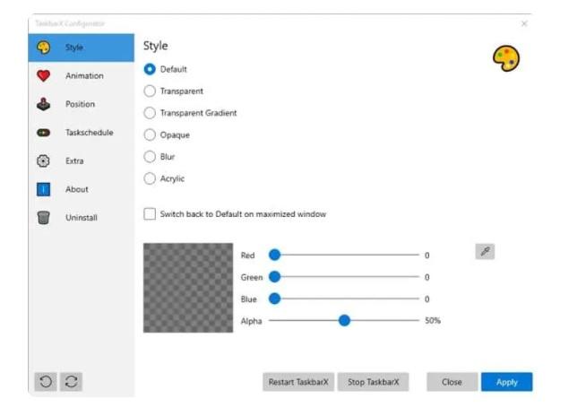 personnaliser la couleur et la transparence de la barre des tâches.