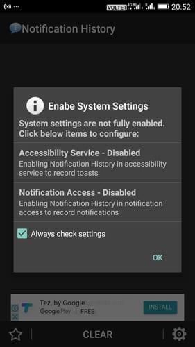 téléchargez et installez l'applicationHistorique des notifications