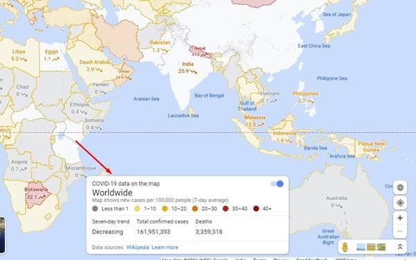 vous verrez les données mondiales.