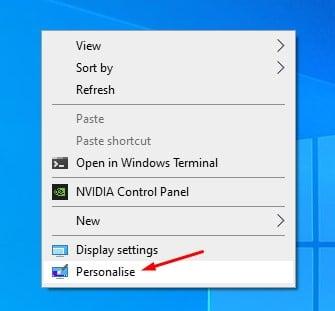 Activer les icônes du bureau à partir des paramètres système