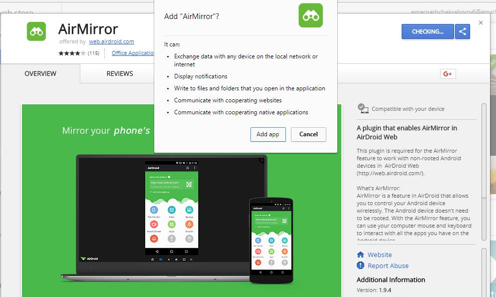 Cliquez sur Installer pour l'installer sur votre navigateur Chrome.