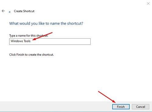 Créez un raccourci pour les outils Windows