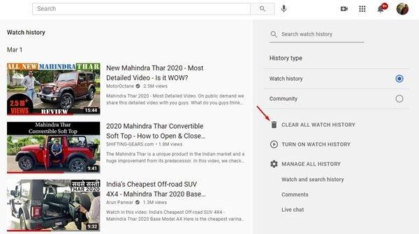 Effacez tout l'historique de visionnage de YouTube