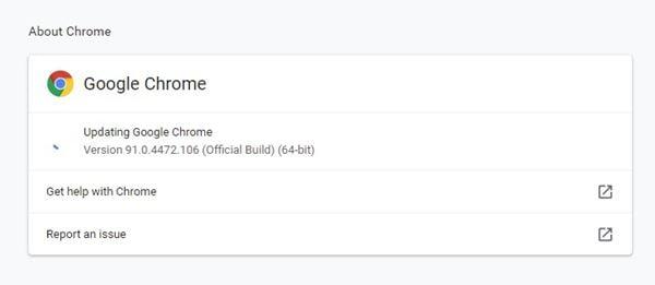 Mettez à jour le navigateur Chrome